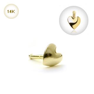 piercing nez stud coeur or 14 carats