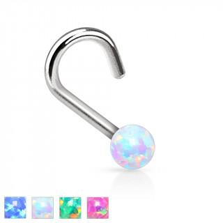 Piercing nez stud courbé avec bille de pierre Opale