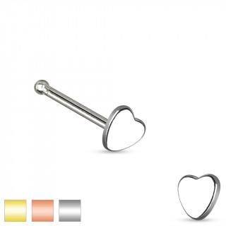 Piercing nez stud droit en acier avec embout coeur