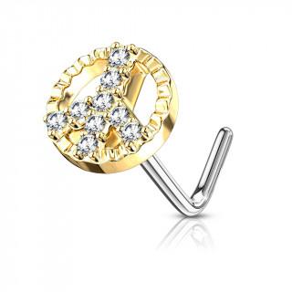 Piercing nez à symbole Peace and love serti - Doré