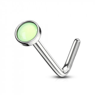 Piercing nez tige L à embout serti epoxy - Vert