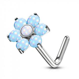 Piercing nez tige L à fleur sertie epoxy - Bleu