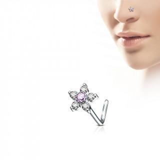 Piercing nez tige L à fleur strass claire et rose