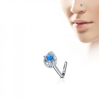 """Piercing nez tige """"L"""" à goutte sertie d'une opale bleue"""