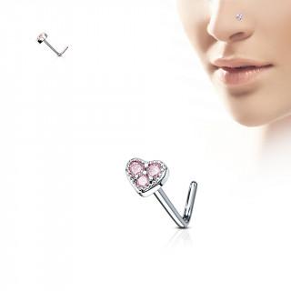 "Piercing nez tige ""L"" coeur à 3 strass roses"