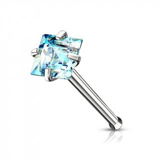 Piercing nez tige droite en acier à zirconium carré bleu