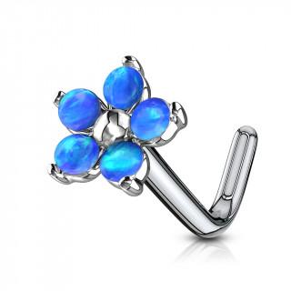 Piercing nez tige L fleur à pétales d'opale - bleu