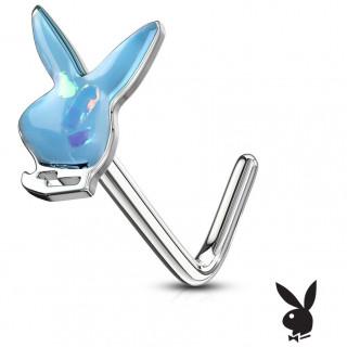Piercing nez tige L Lapin Playboy Opale (officiel) - Bleu aqua