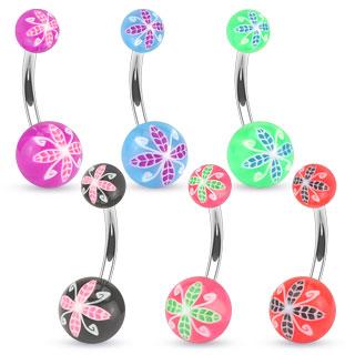 Piercing nombril à boules avec imprimé floral orchidée