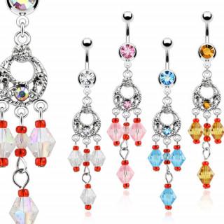 Piercing nombril à chandelier vintage avec perles