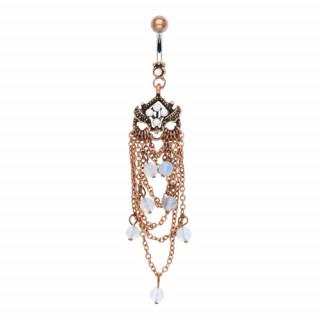 Piercing nombril à chandelier vintage cuivré avec perles
