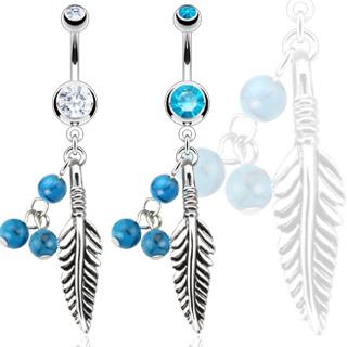 Piercing nombril à pendentif plume et perles en turquoise