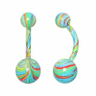 Piercing nombril acier à spirales multicolores