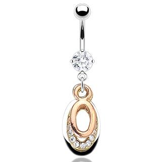 Piercing nombril anneaux tricolores sertis