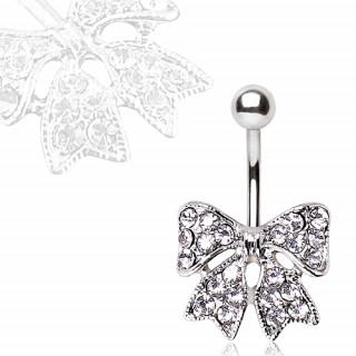 Piercing nombril avec noeud papillon pavé de strass