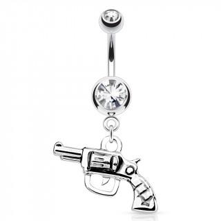 Piercing nombril avec pistolet révolver argenté