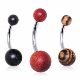 Piercing nombril à boules en bois naturel