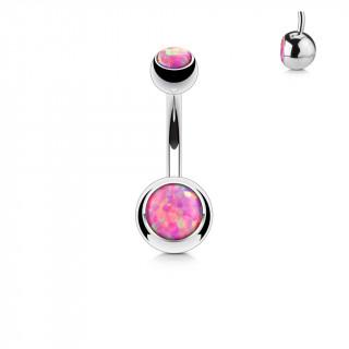 Piercing nombril à boules serties d'opales roses