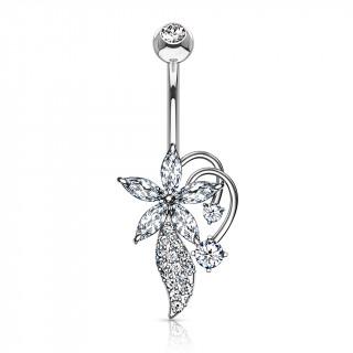 Piercing nombril bouquet fleuri stylisé