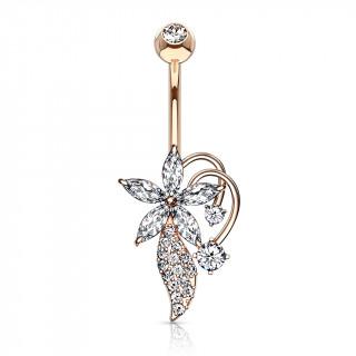 Piercing nombril bouquet fleuri stylisé plaqué or rose