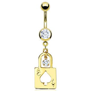 Piercing nombril cadenas plaqué or avec As de pique