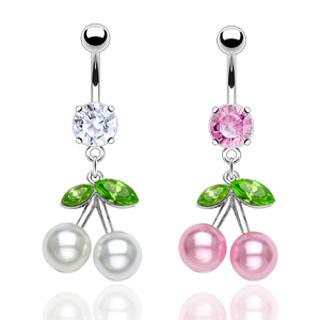 Piercing nombril cerises en perle