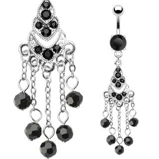 Piercing nombril chandelier de perles noires