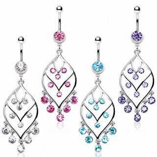 Piercing nombril chandelier style feuille