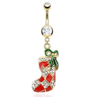 Piercing nombril chaussette de Noel dorée et rouge avec noeud