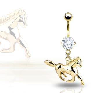 achat piercing nombril cheval au galop plaqu or serti. Black Bedroom Furniture Sets. Home Design Ideas