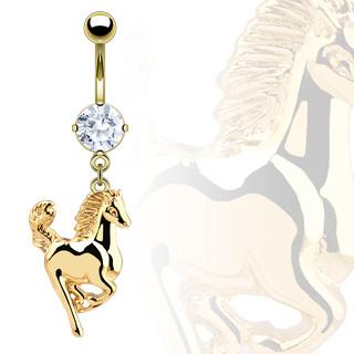 achat piercing nombril cheval en saut plaqu or serti. Black Bedroom Furniture Sets. Home Design Ideas