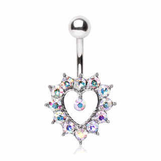 Piercing nombril coeur bordé de strass aurore boréale