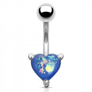 Piercing nombril à coeur d'opale bleue
