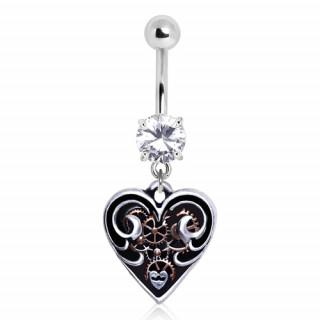 Coeur Steampunk achat piercing nombril coeur steampunk