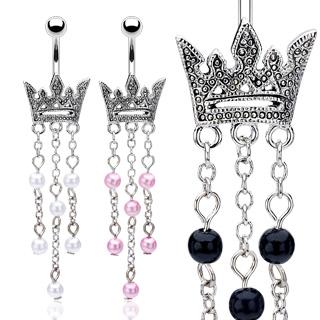 Piercing nombril couronne perlée