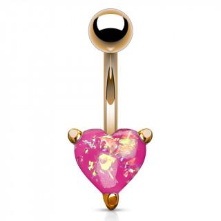 Piercing nombril cuivré à coeur d'opale rose
