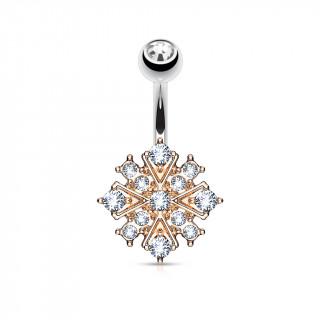 Piercing nombril cuivré étoile éclatante pavée de strass