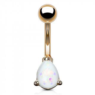 Piercing nombril cuivré à goutte d'opale blanche