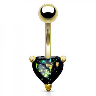 Piercing nombril doré à coeur d'opale vert foncé