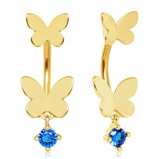 Piercing nombril doré à embouts papillons et strass bleu