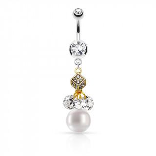 Piercing nombril doré et argenté à dés, strass et perle