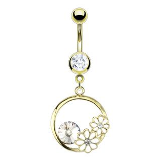 achat piercing nombril dor et serti avec anneau fleurs. Black Bedroom Furniture Sets. Home Design Ideas