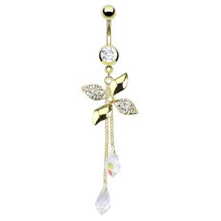 Piercing nombril doré fleur ondulée avec pendentifs de cristal