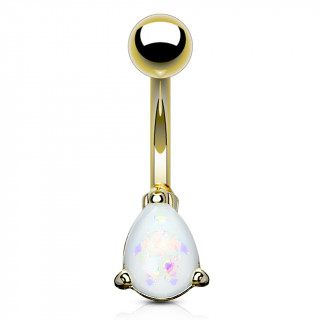 Piercing nombril doré à goutte d'opale blanche