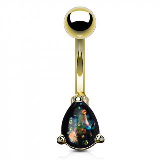 Piercing nombril doré à goutte d'opale vert foncé
