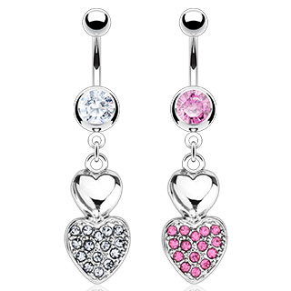 Piercing nombril double coeur pavé de pierres