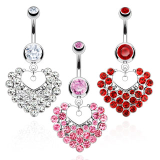 Piercing nombril double coeur pavé de strass