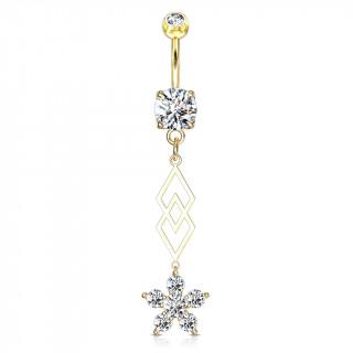 Piercing nombril double pendentif losanges et fleur - Plaqué or