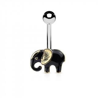 Piercing nombril éléphant de profil noir et doré