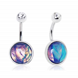 Piercing nombril à embout rond avec opale synthétique